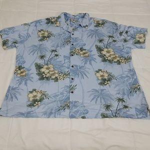Caribbean Joe Hawaiian Shirt Mens 4XLT Blue Floral